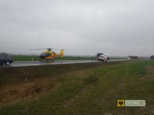 Groźny wypadek na dk46. Rannego zabrało Lotnicze Pogotowie Ratunkowe